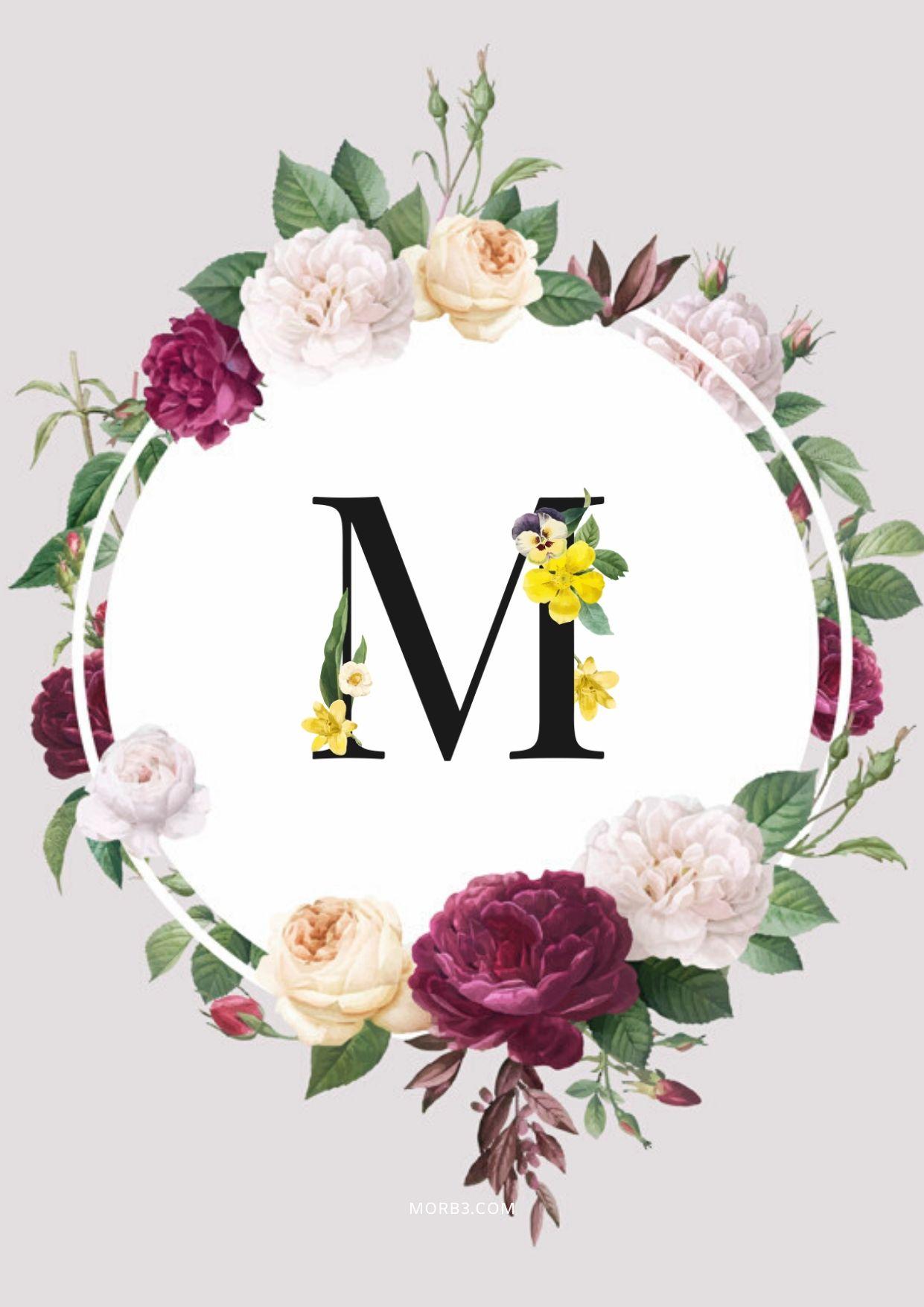 صور حروف M بالورود وملونة