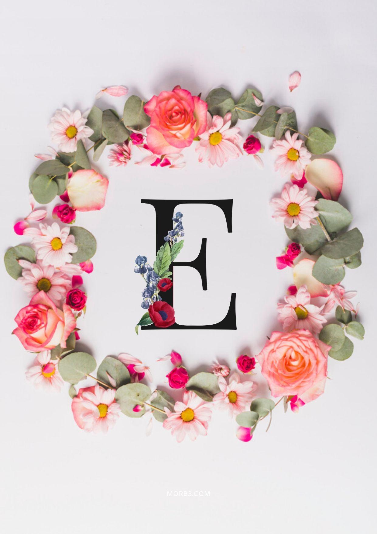 حرف E مزخرف بالورد